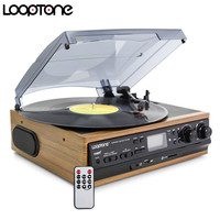 LoopTone USB Turntable Vinyl LP Record Player W Remote Control 2 Built In Speakers Turntables W