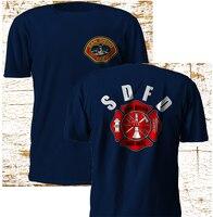 2018 Lato koszulkę Nowy San Diego California Strażak Pożaru Dział Granatowy T Koszula S-3XL Koszulka Na Zamówienie