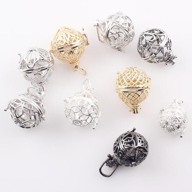 9 Styles Harmony Bola Pendant Hollow Cage Locket Aromatherapy Perfume Diffuser Float Locket Wholesale DIY Gift JJAL C70