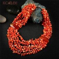 KCALOE Multilayer Big Chunky Necklace Orange Irregular Natural Stone Bohemia Statement Layered Pendants Necklaces For Women