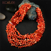 KCALOE Multilayer Big Chunky Necklace Orange Irregular Natural Stone Bohemia Statement Layered Pendants Necklaces For Women