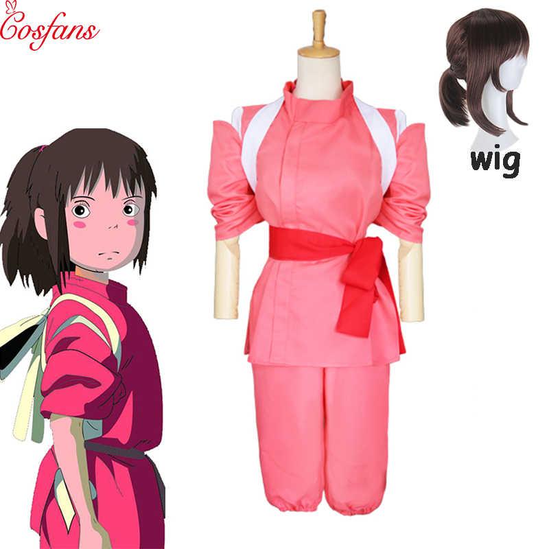 2019 5pcs Anime Spirited Away Sen To Chihiro No Kamikakushi Ogino Chihiro Cosplay Costume Set And Wigs Women Halloween Cosplay Movie Tv Costumes Aliexpress