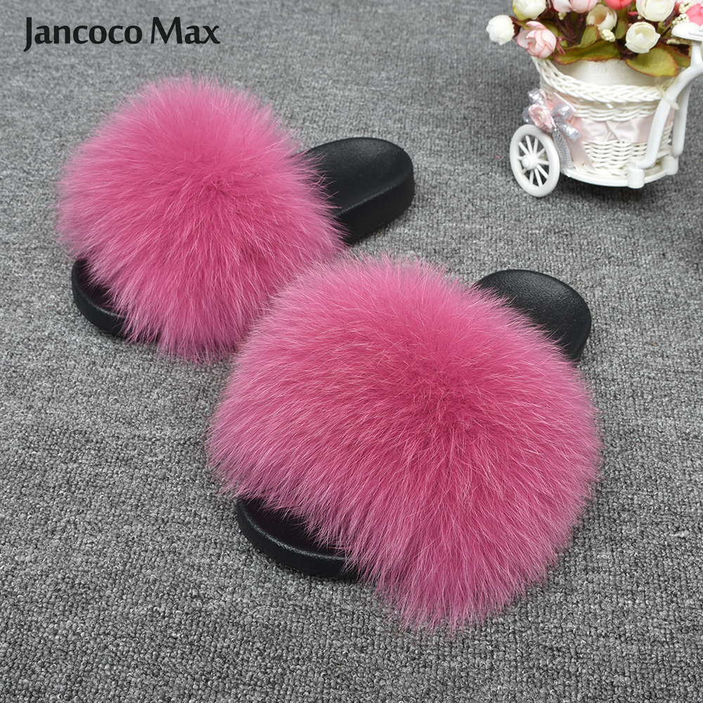 2019 New Arrival Women Big Fur Slippers Top Quality Real Fox Fur Sliders Indoor Lady Natural