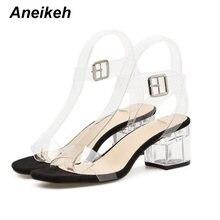 Aneikeh ПВХ прозрачные каблуки женские летние туфли пикантные