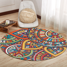 Retro National style Round thick carpet Nordic home coffee table blanket Bedroom study chair round computer Printed