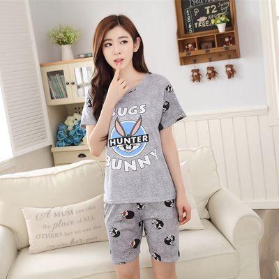 Women Pajamas Sets Hot Summer Short Sleeve Thin Cotton Cartoon Print Cute Loose  Sleepwear Girl pijamas Mujer Nightgown For Women 4de5f36e8