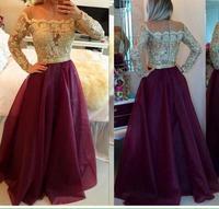 2017 Sexy Evening Dress Long Sleeve A Line Floor Length Beading Lace Bodice Chiffon Formal Dresses Vestido longo