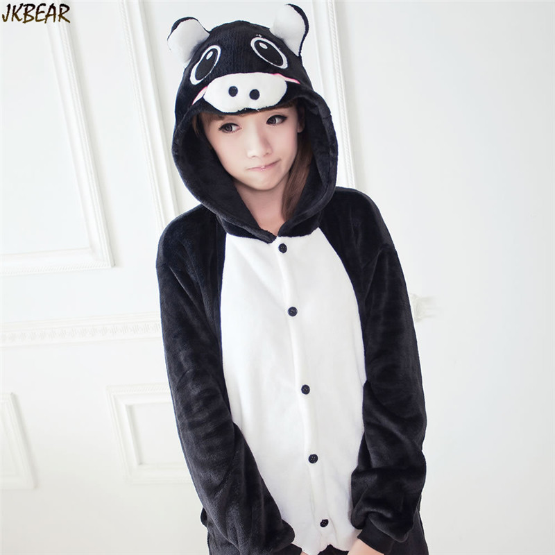 e74b077e64cf Hot-sale Black Funny Animal Pig Flannel Onesies for Teenagers and Adults  Cute Cartoon Costume Onesie Pajamas Plus Size S-XL