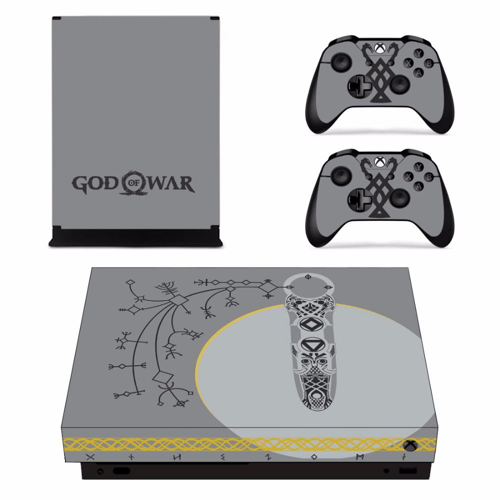 Game God of War 4 Skin Sticker Decal For Microsoft Xbox One X Console and 2 Controllers For Xbox One X Skins Stickers Vinyl