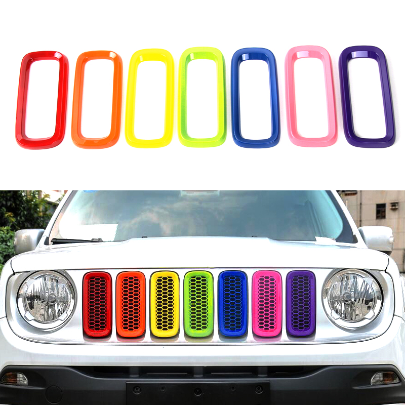 7Pcs  ABS Colour Chrome Front Grille Vent Trim Ring Cover Grille Vent Trim Ring Insert Cover For Jeep Renegade 2015-2017