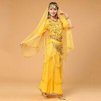 Women Bollywood Dance Wear 4 piece Set Costume Veil Headdress, Top, Coin Belt and Skirt Indian Belly Dance Costumes 6 Colors