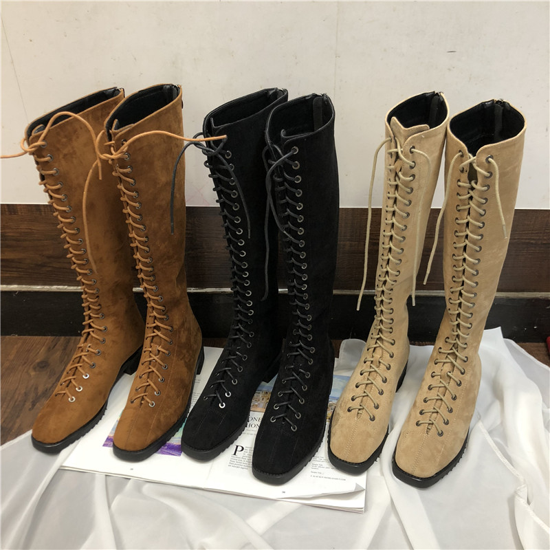 все цены на 2018 New Arrivals Woman Suede Leather Knee High Boots Front Strap Lace Up Back Zip Cool Punk Locomotive Botas Mujer