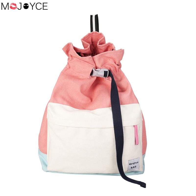 MOJOYCE Women Canvas Drawstring Shoulder Bag Large Tote Ladies Purse solid casual string school backpack for girls mochila