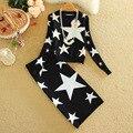 Estrellas populares Kits para Las Mujeres Impreso Casual Estrellas Patrones Suéteres Conjuntos de Larga Longitud de La Rodilla Falda Lápiz Faldas Conjuntos Auutmn