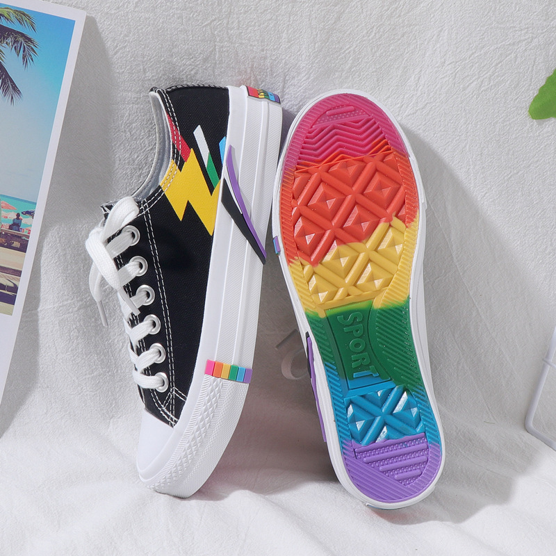 Canvas Shoes Low-Cut Rainbow Flat-Bottom Fashion Summer New Wild Casual Harbor Wind-Graffiti