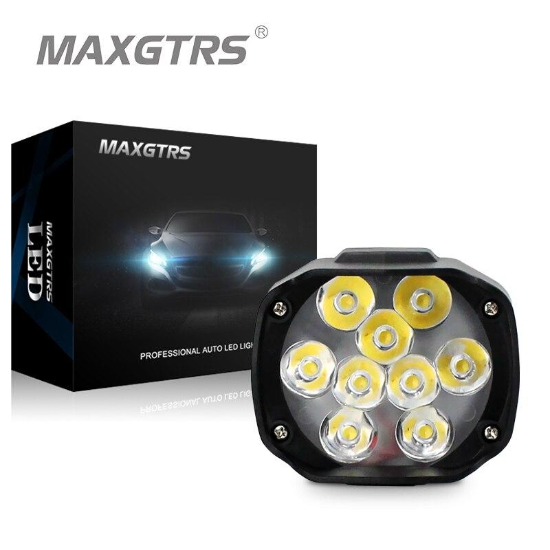 MAXGTRS Motorcycle Led Headlight Lamp 15W 1500Lm Scooters Fog Spotlight 6500K White DRL Motorbike Working Spot Light 9-85V