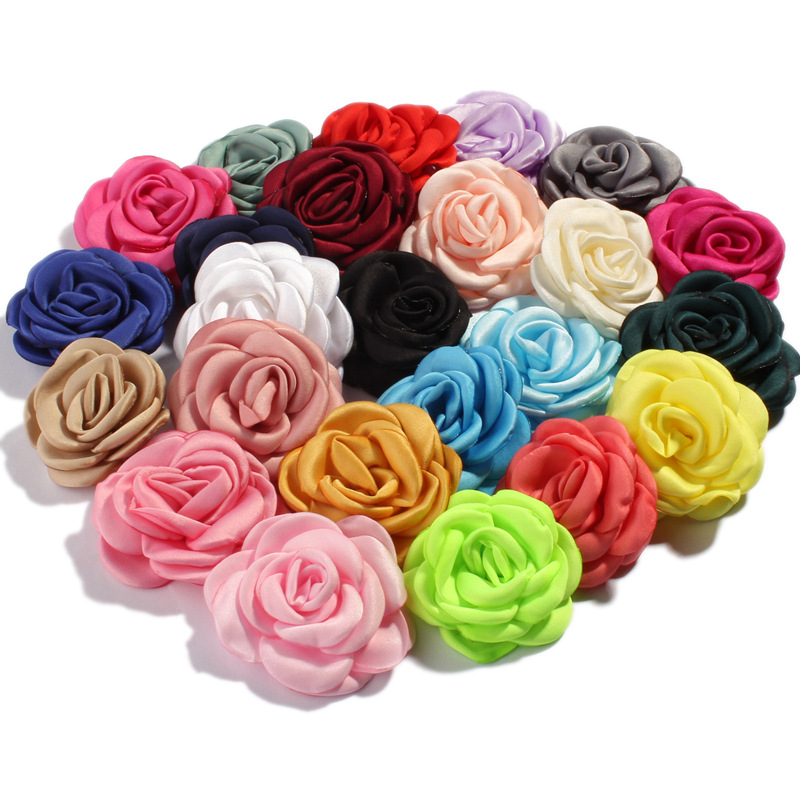 120pcs/lot 6cm 24colors Fashion Burned Rolled Petal Rose Hair Flowers for Hair Clips Vintage Fabric Flowers For Hair Accessories-in Hair Accessories from Mother & Kids    1