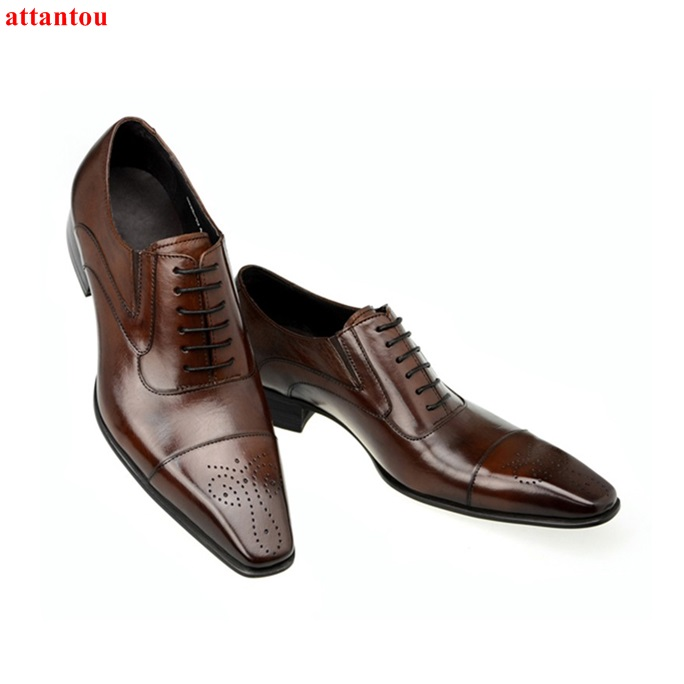 Hot Sale Autumn Lace Up Square Toe Men Dress Shoes Brown Leather Shoes Luxury Male Casual Shoes Man Office Feast Formal Shoes hot sale mens genuine leather cow lace up male formal shoes dress shoes pointed toe footwear multi color plus size 37 44 yellow