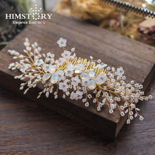 HIMSTORY Clear Crystal Bride Hair Combs Handmade Gold/Silver Wedding Stick Princess Bridal Party Festival Accessories