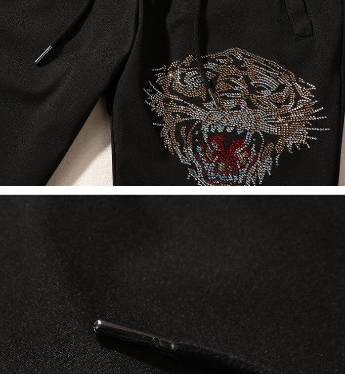 Brand New Novelty Hot diamond Tiger geit Mannen Running Sportkleding Trainingspakken mannen Sets (t shirt + broek) top TEES # L113 - 6