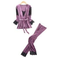 Women Autumn Winter Fashion Pajama Set High Quality Velvet Luxury Nighties Bathrobe Pyjama Set Sexy Lace