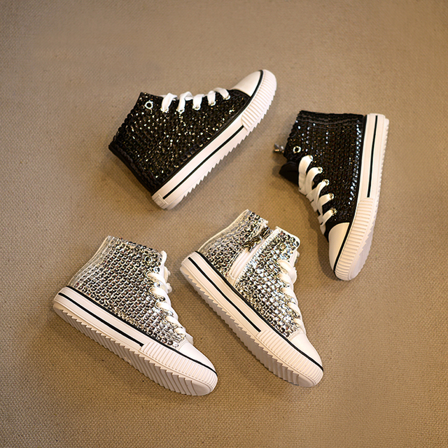 a9efd545be12 2016 lastest sequin shoes high-top sneakerboot fashion palace design girl boots  black   silver sneakers