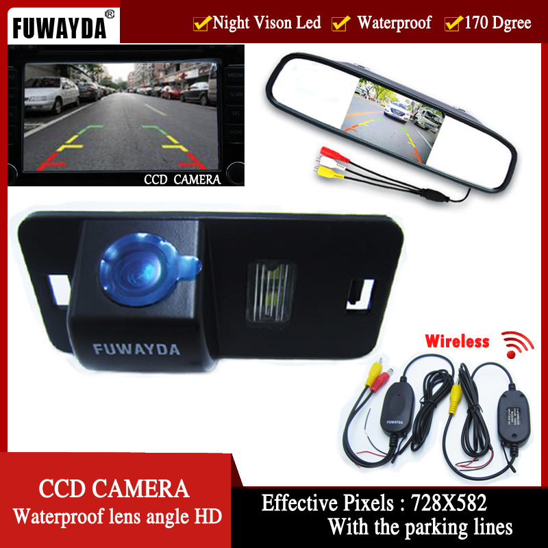цена на FUWAYDA Wireless Color CCD Car RearView Camera for BMW 1357 series X3 X5 X6 Z4 E39 E53 E46 with 4.3Inch Rearview Mirror Monitor