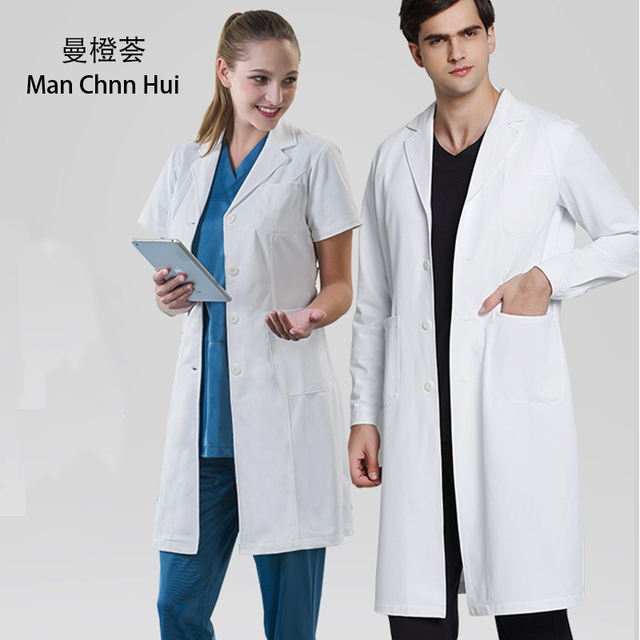 US $55 03 29% OFF|Medical robes lab coat white Unisex skin anti wrinkle  fabric laboratory clothing dentist doctor overalls 3 large patch pocket on