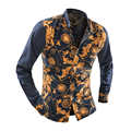 2016 New men's fashion punk style shirts patchwork Floral print long sleeves shirts Slim fit stylish casual shirt tops