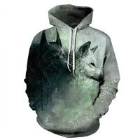 Spring Men Women 3d Sweatshirts Wolf Print Hoodies Man Sweatshirt Streetwear Leisure Hooded Dragon Ball Unisex