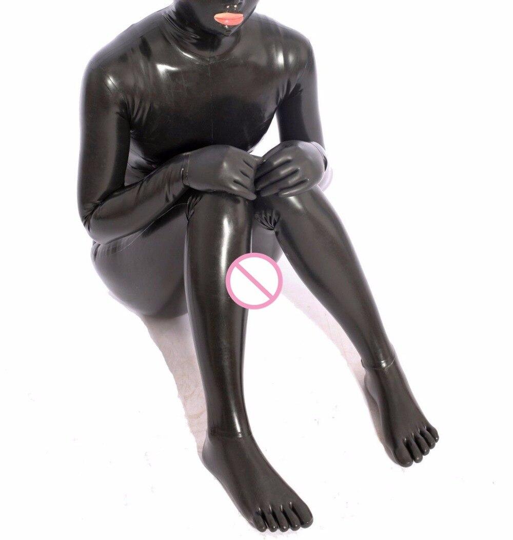 Латекс комбинезон с ноги пять пальцев носки капюшон маска Перчатки резиновые костюм кошки латекс чулок комбинезон плотно