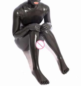 Latex Catsuit With Feet Five Toes Socks Hood Mask Gloves Rubber cat suit Latex catsuit stocking Jumpsuit tight - DISCOUNT ITEM  8% OFF Novelty & Special Use