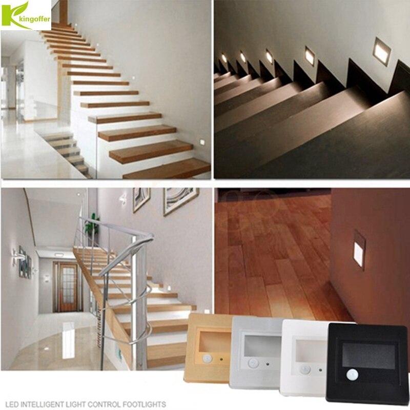 1 piezas/5 piezas/10 piezas interior PIR Sensor de movimiento Luz de escalera de Led de infrarrojos de la inducción del cuerpo humano de la pared lámpara empotrada escalera luz de pared