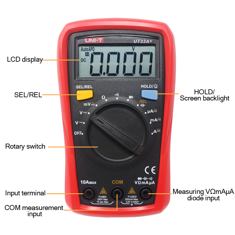Image 5 - UNI T Digital Multimeter UT33A+ Auto Range Voltage Current Resistance Measure LCD AC DC +2mF Capacitance NCV Tester Backlight-in Multimeters from Tools