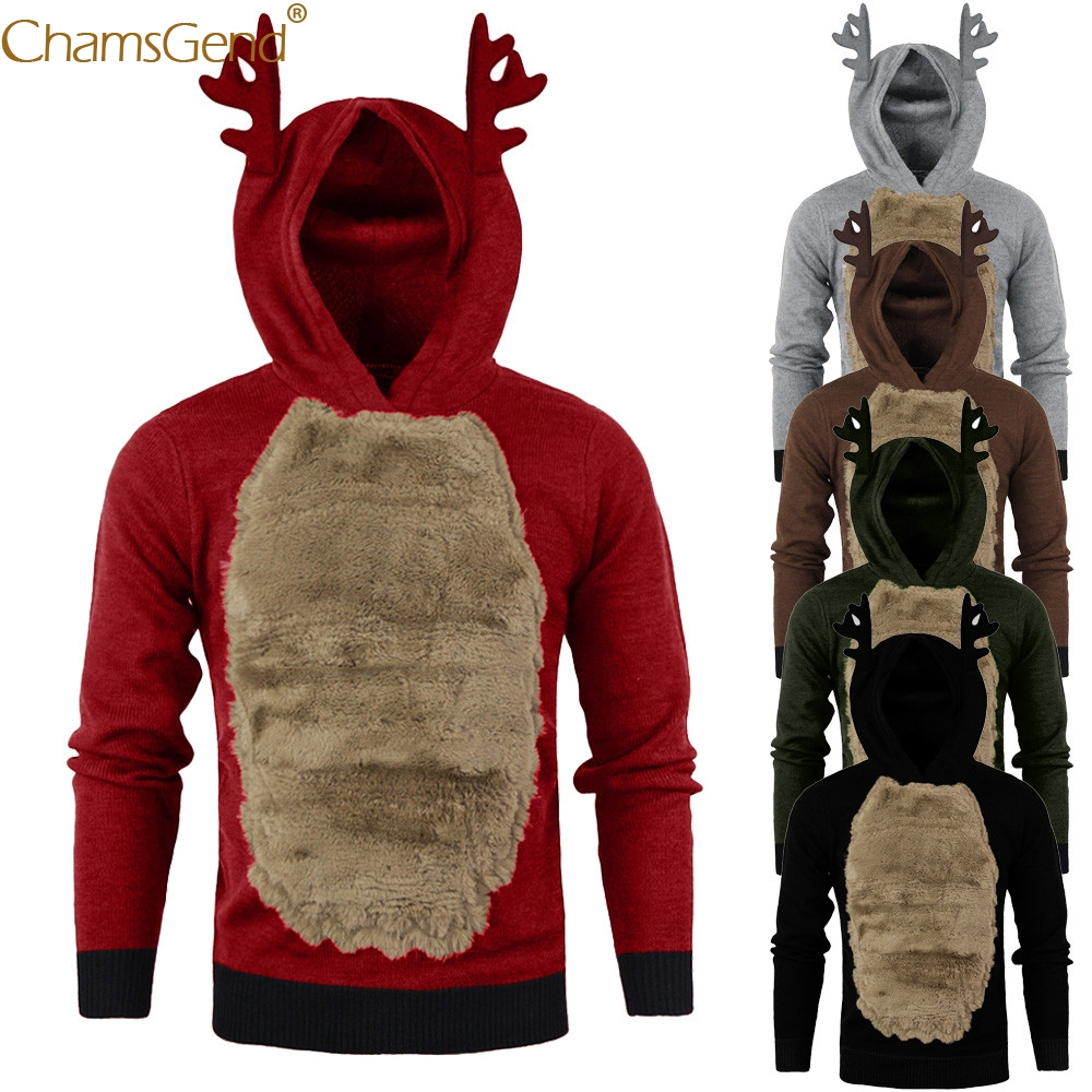 Men Autumn Winter Xmas Hoody Reindeer Feather Hooded Christmas Fur 3D Blouse Top Black Gray Red Army GreenNov 12