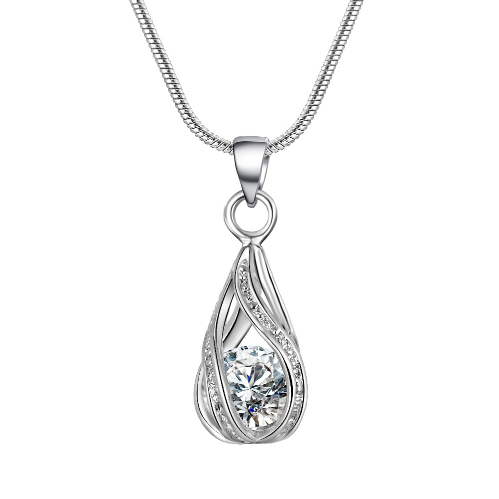 5 Colors Water Drop Pendent Transparent Zircon Cubic Snake Chain - Сәндік зергерлік бұйымдар - фото 3