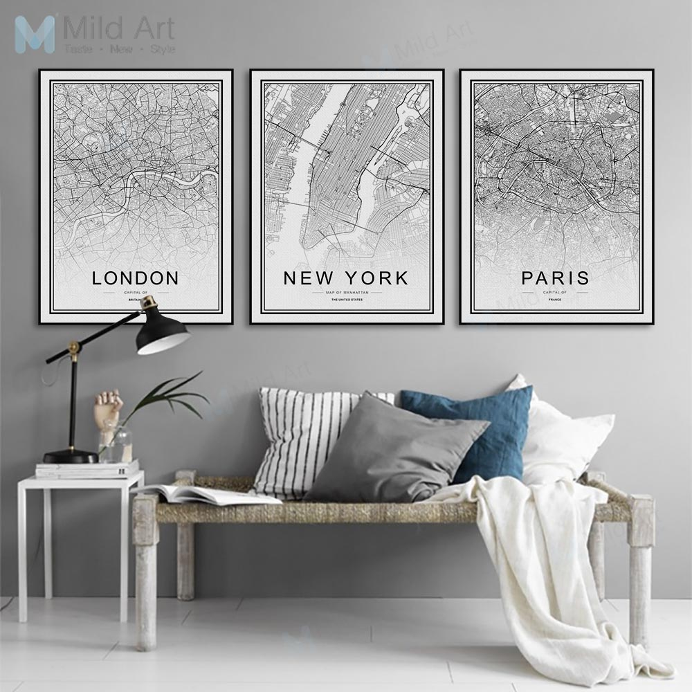 World Famous City Map London Paris New York Black Framed Canvas Painting Nordic Style Living Room Home Decor Wall Art Pictures