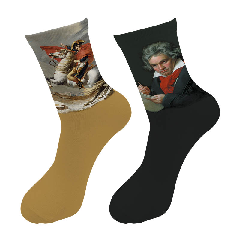 New 3D Printed World Celebrities Paint Crew Socks Men Portrait Einstein Napoleon Beethoven Painting Long Men's Dress Tube Socks