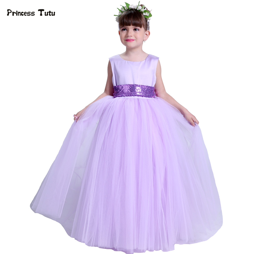 Lavender Flower Girl Dresses With Sequins Belt Girl Wedding Party Dress Tulle Kids Princess Tutu Dress For Girls Pageant Gowns