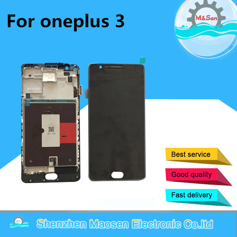 M&Sen Amoled For oneplus three oneplus 3 A3000 A3003 EU version LCD screen display+touch digitizer with frame black free shippin