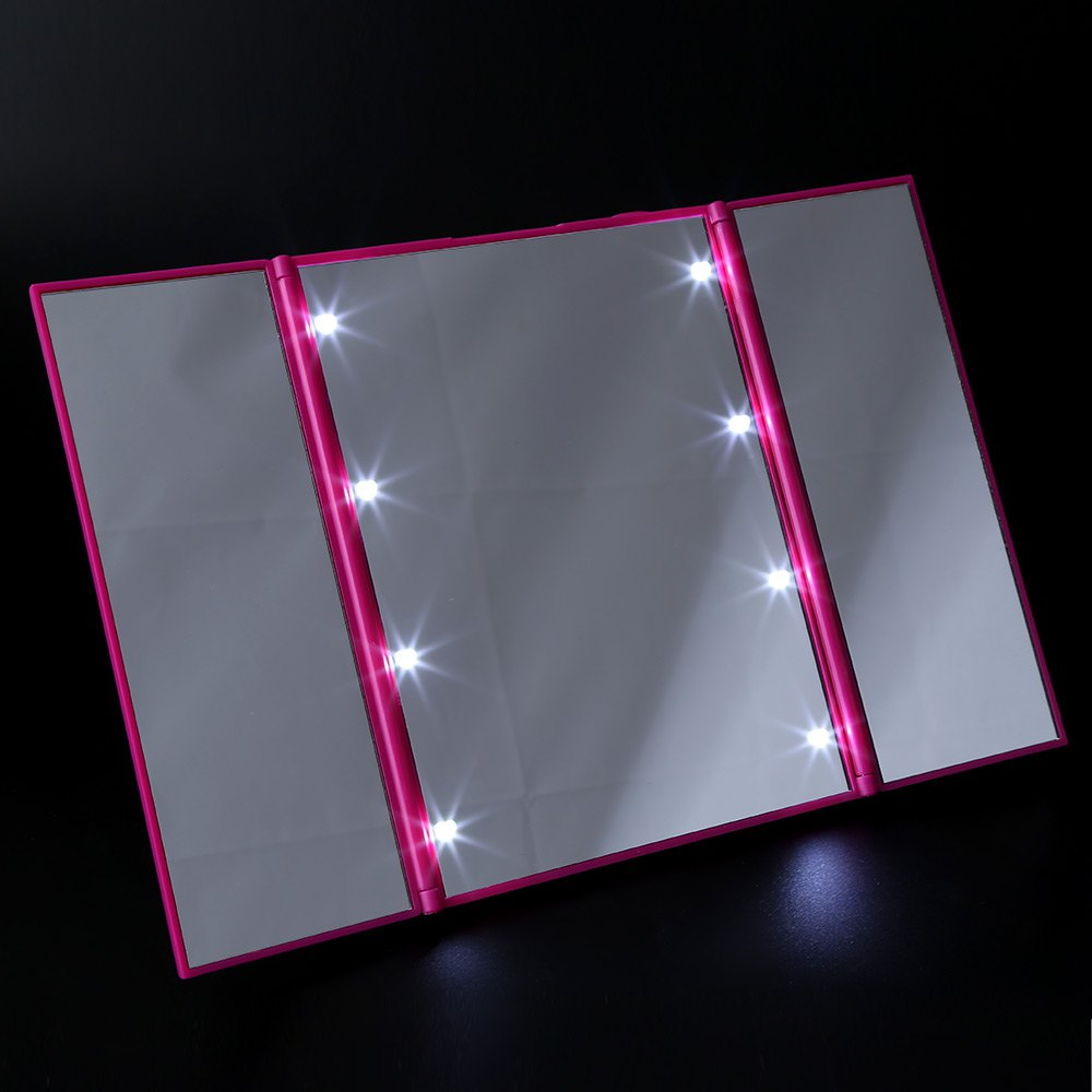 Fashion 8 LEDs Lighted Makeup Mirror 3 Folding Portable Touch Screen Make up Adjustable Tabletop Countertop
