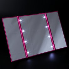 Fashion 8 LEDs Lighted Makeup Mirror 3 Folding Portable Touch Screen Make-up Adjustable Tabletop Countertop