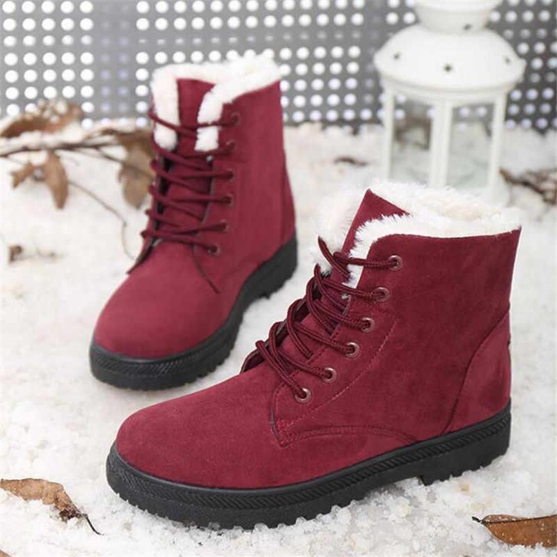 Botas de nieve de invierno de marca para mujer, botas de tobillo cálidas para estudiantes, zapatos de algodón para mujer, botas de nieve gruesas antideslizantes para mujer