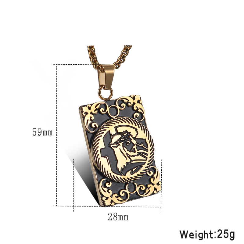 YaHui stainless steel Carved couple necklace titanium mens female jewelry accessories vintage bohemian