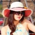 DreamShining Moda de Las Mujeres Anti-Ultravioleta Plegable de Protección Facial de Playa Sombrero de Ala Ancha Dom Sombrero de Paja de Protección Solar Sombrero Grande Del Borde Del Sombrero de Visera