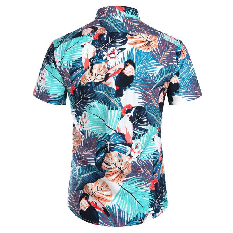 Мужская гавайская рубашка 2019 модная повседневная Camisa Masculina пляжная рубашка с цветочным принтом птицы Мужские рубашки с коротким рукавом мужская сорочка