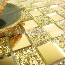 2018 New coming Gold color Glass Tile Mosaic  1box 11 pieces Glass Mosaic Tile 12 x 12″ Sheet BackSplash/Shower/Art Mesh Mount