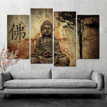 Canvas Paintings Posters Faith Art 4 Panel Modern Large Oil Buddha Wall Print Home Living Room Decorations Abstract 1