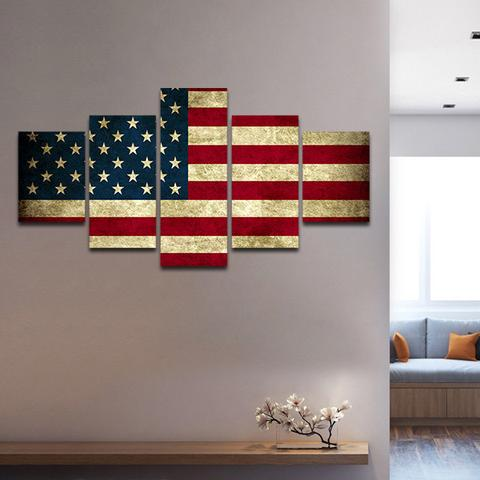 Us 7 2 40 Off 5 Panel Hd Printed Modular Canvas Painting Rustic American Flag Print Home Decor Wall Art Picture For Living Room F1080 In