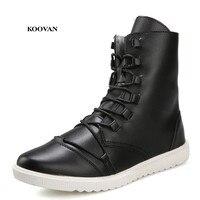 Koovan/мужские ботинки; Новинка 2018 года; Мужская мода; сезон весна-осень; кожаные ботинки; Высокая мужская обувь на плоской подошве